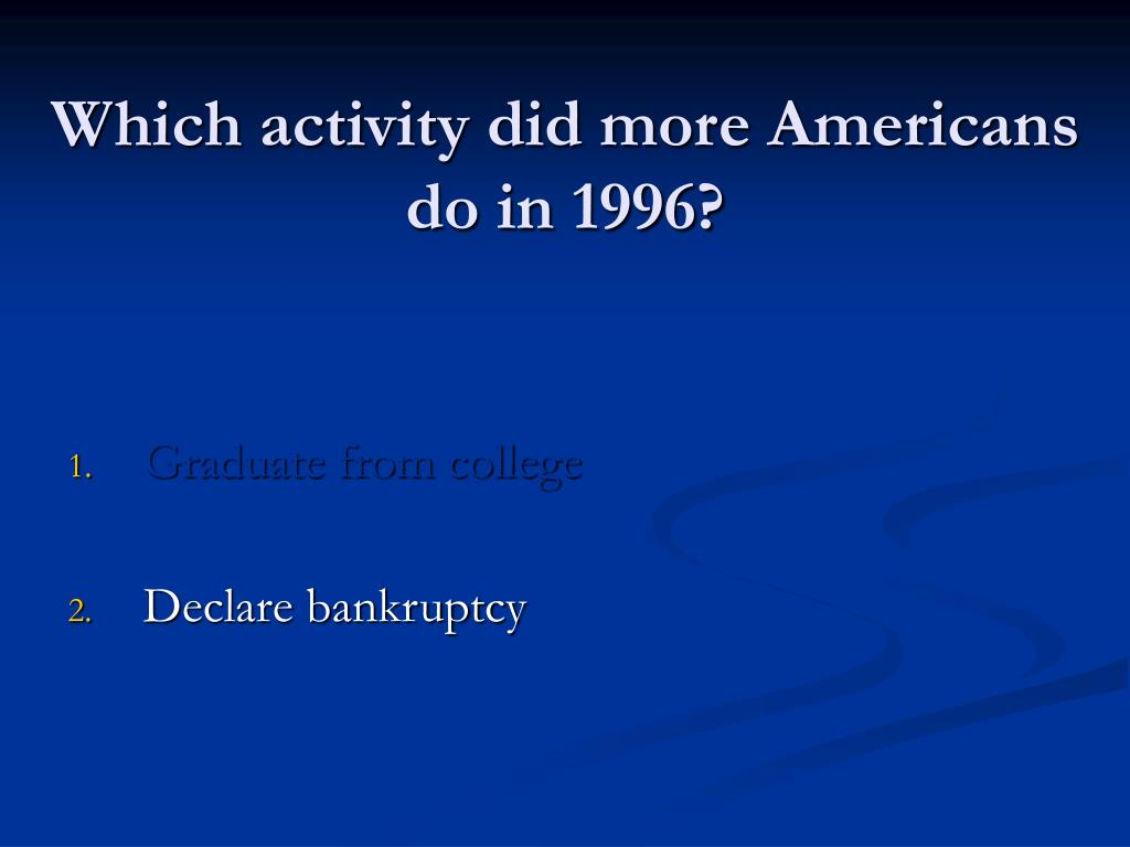Which activity did more Americans do in 1996?