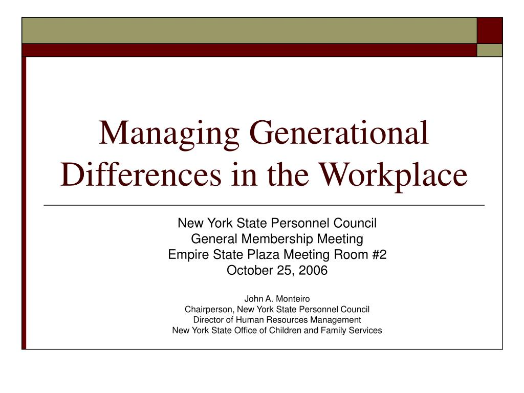 managing generation There's no arguing that the workplace is an ever-changing environment as  societal norms  managing varied generations in the workplace by janet  fowler.