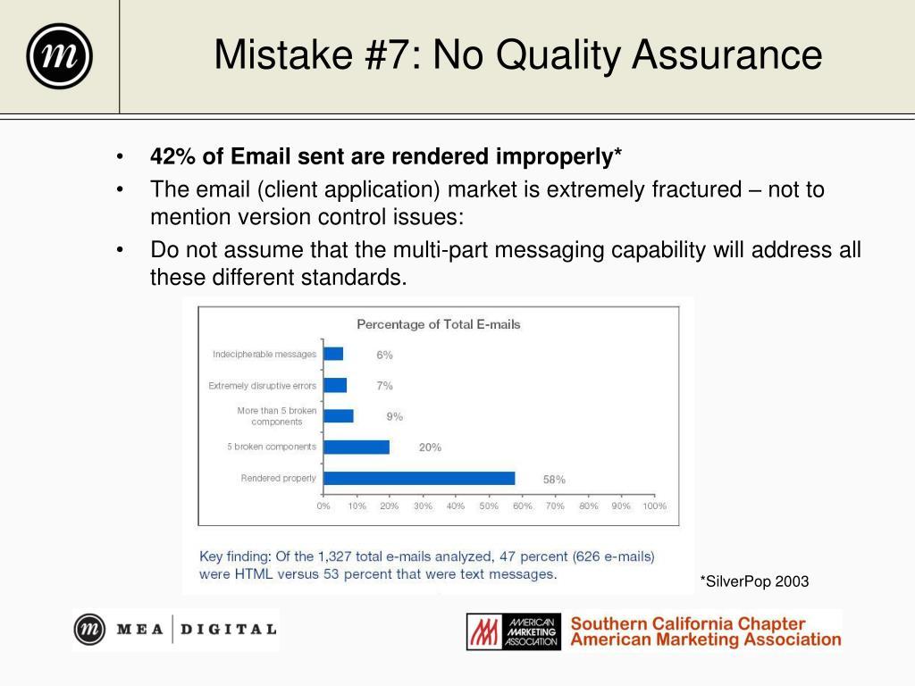 Mistake #7: No Quality Assurance