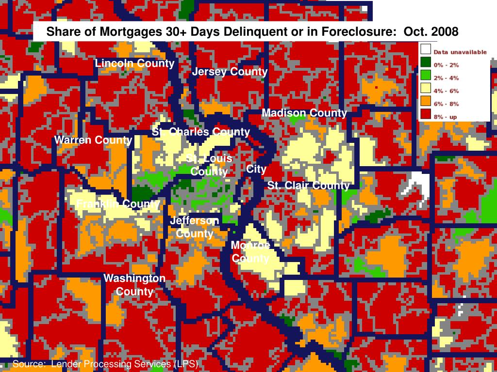 Share of Mortgages 30+ Days Delinquent or in Foreclosure:  Oct. 2008