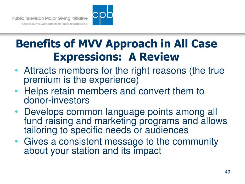 Benefits of MVV Approach in All Case Expressions:  A Review