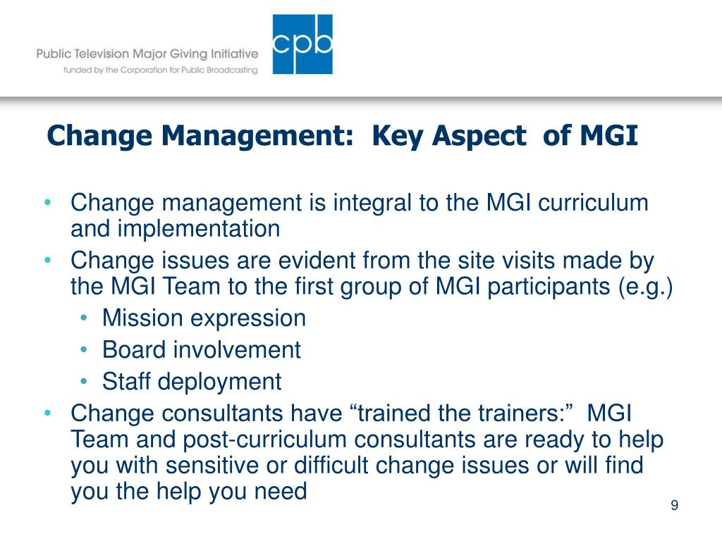 Change Management:  Key Aspect  of MGI