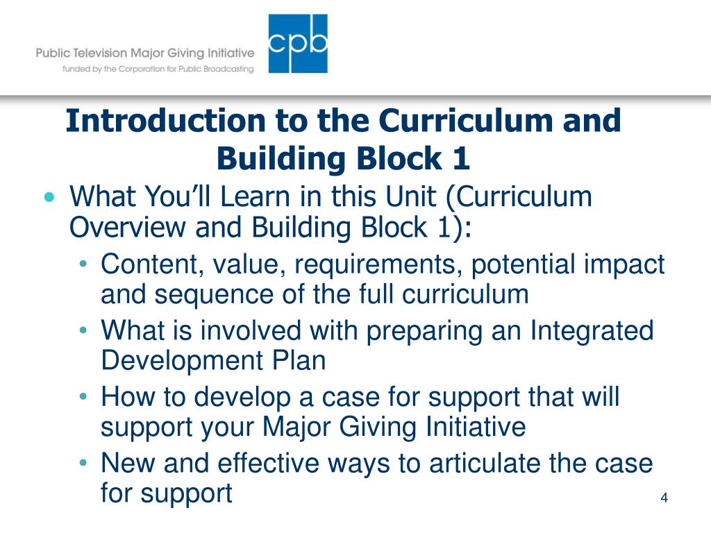 Introduction to the Curriculum and Building Block 1