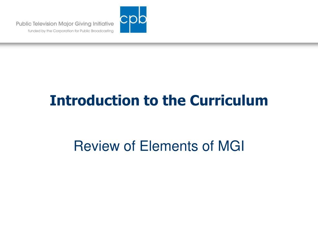 Introduction to the Curriculum