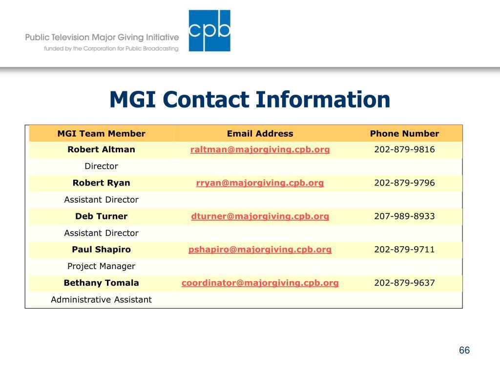MGI Contact Information