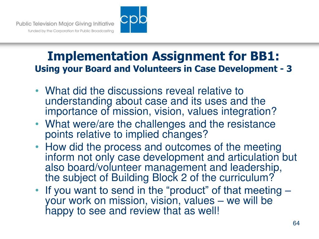 Implementation Assignment for BB1: