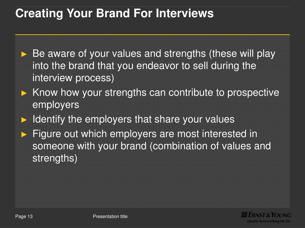 Creating Your Brand For Interviews