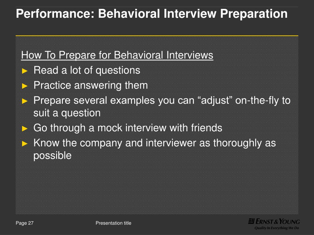 Performance: Behavioral Interview Preparation
