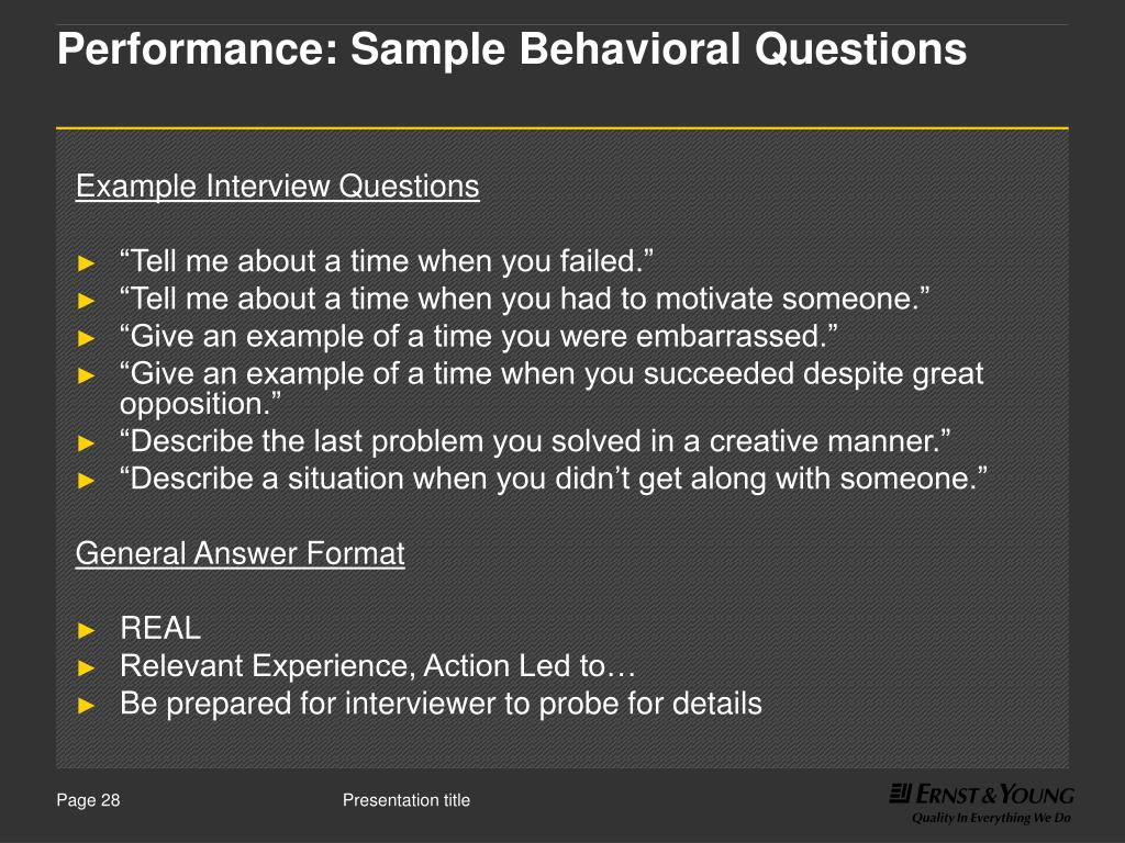 Performance: Sample Behavioral Questions