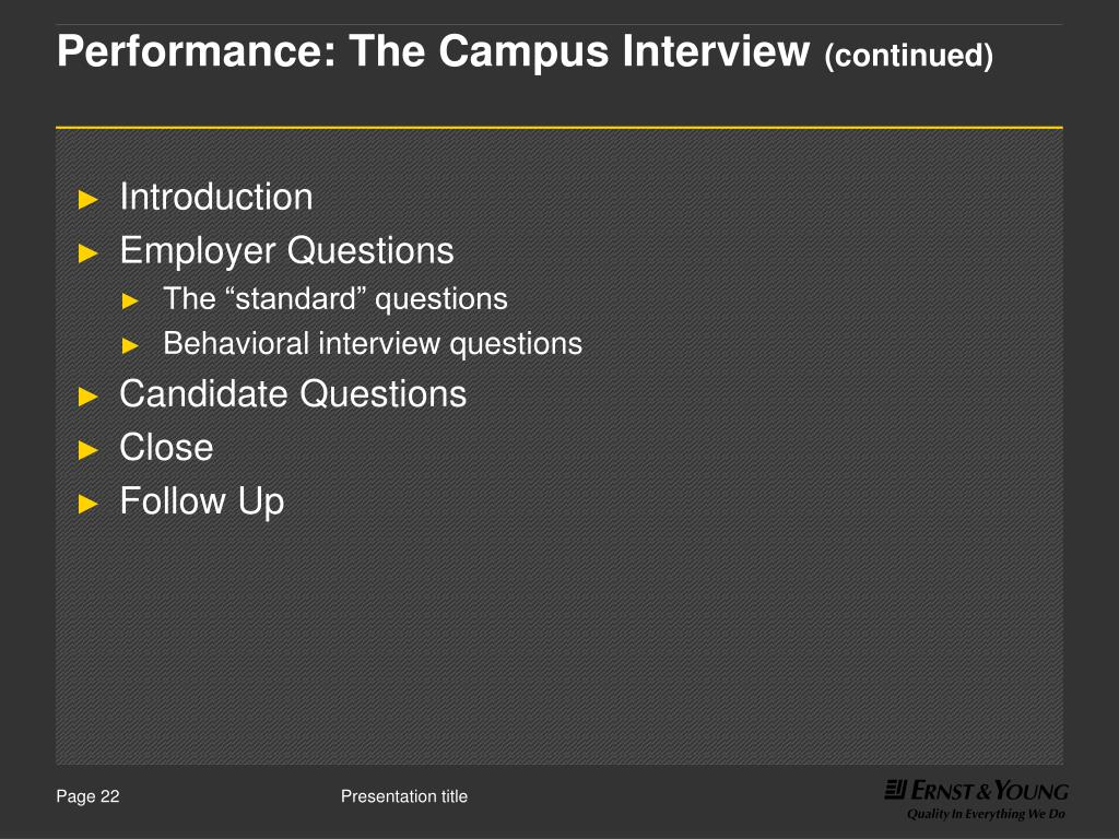 Performance: The Campus Interview