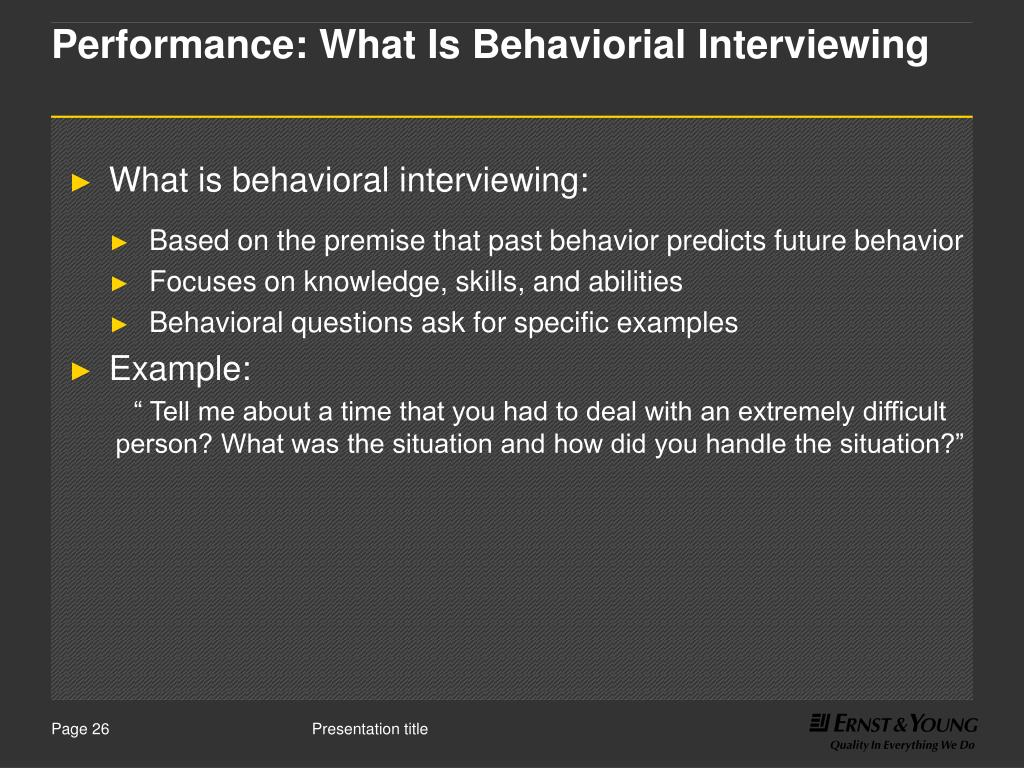 Performance: What Is Behaviorial Interviewing