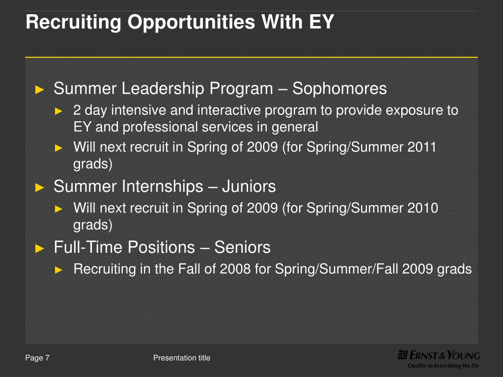 Recruiting Opportunities With EY