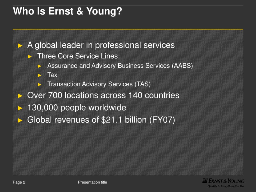 Who Is Ernst & Young?