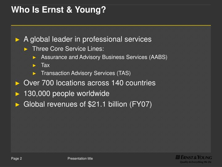 Who is ernst young