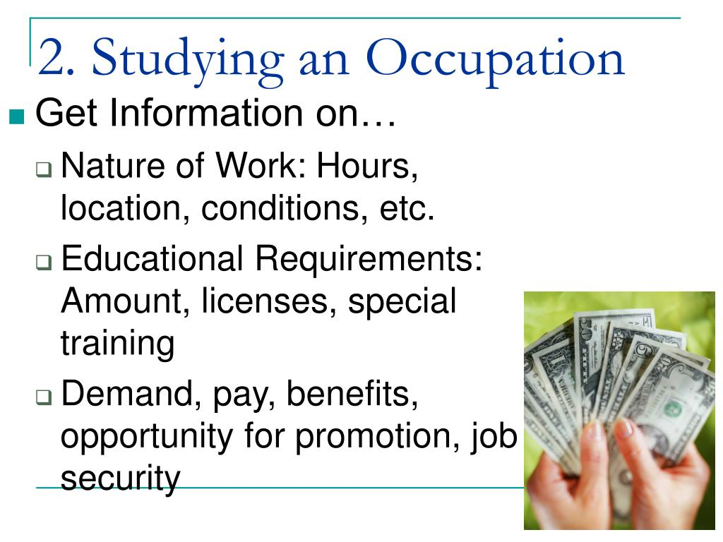 2. Studying an Occupation