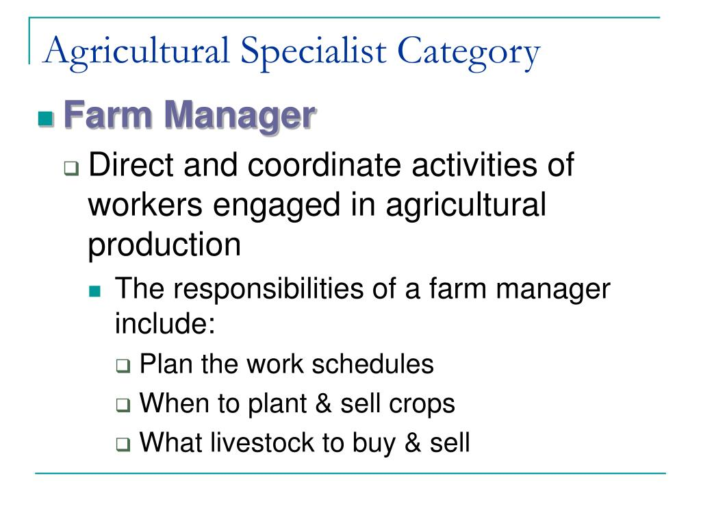 Agricultural Specialist Category