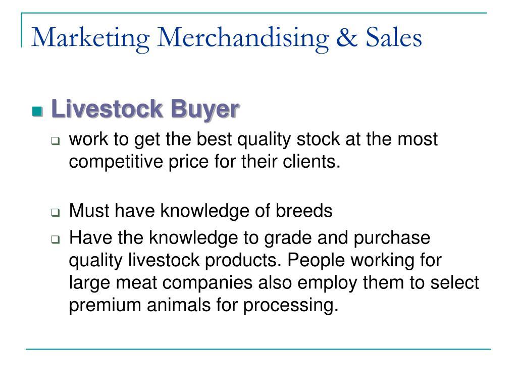 Marketing Merchandising & Sales