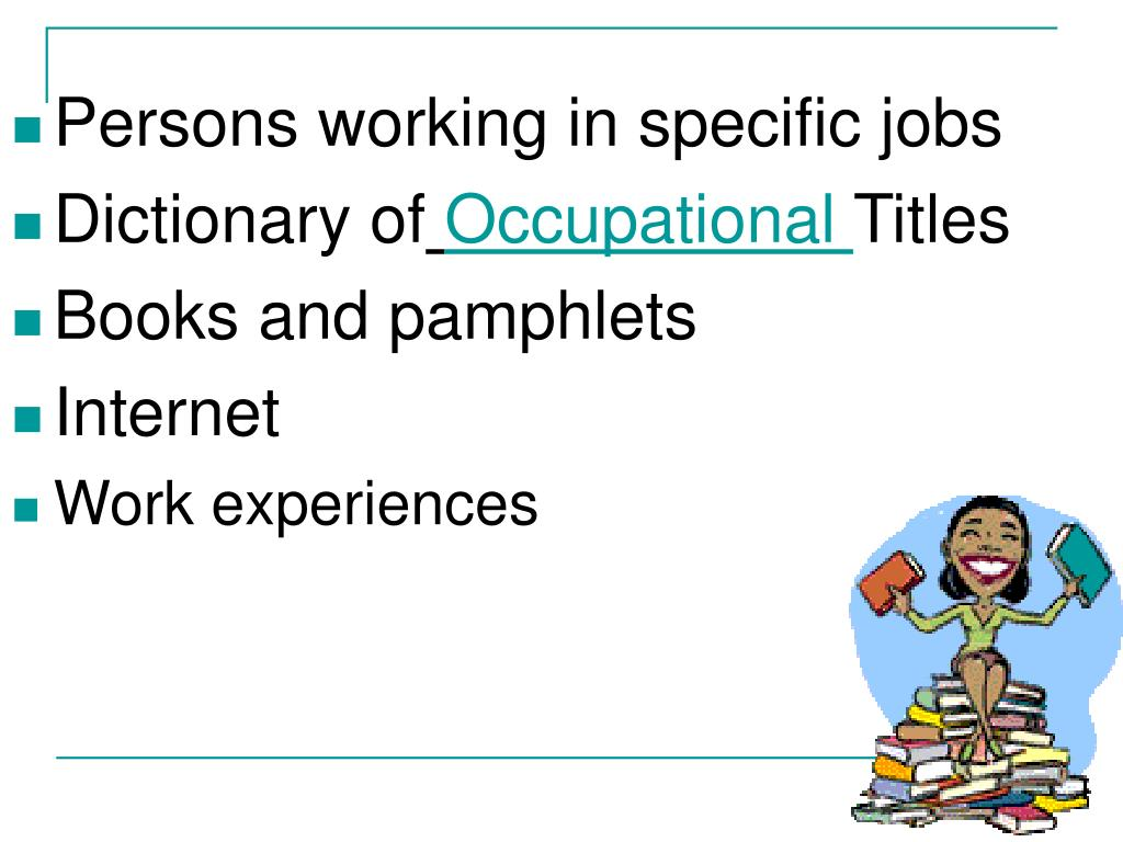 Persons working in specific jobs