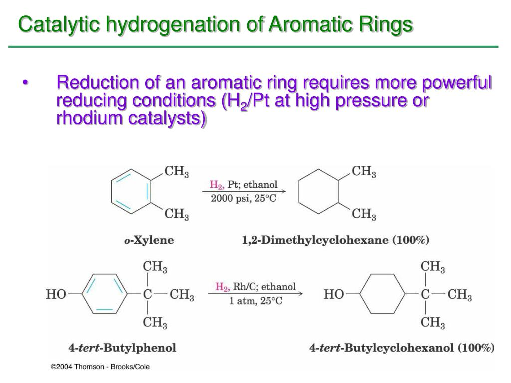 Catalytic hydrogenation of Aromatic Rings