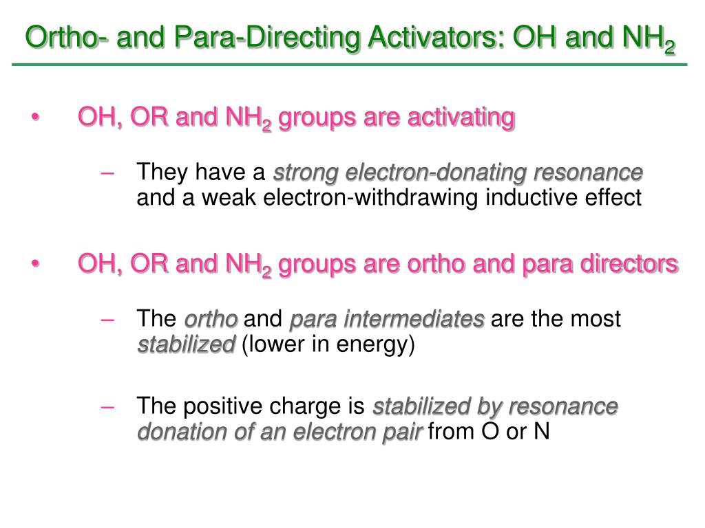 Ortho- and Para-Directing Activators: OH and NH