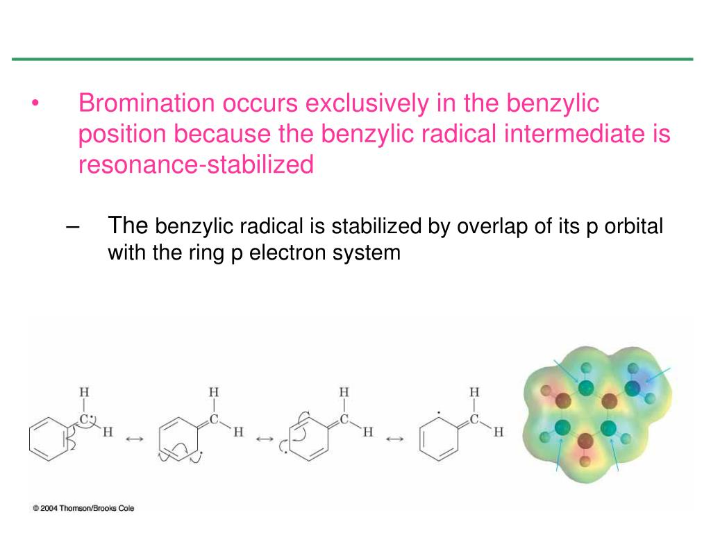 Bromination occurs exclusively in the benzylic position because the benzylic radical intermediate is resonance-stabilized