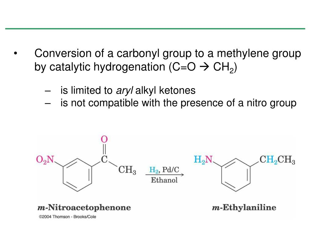 Conversion of a carbonyl group to a methylene group by catalytic hydrogenation (C=O