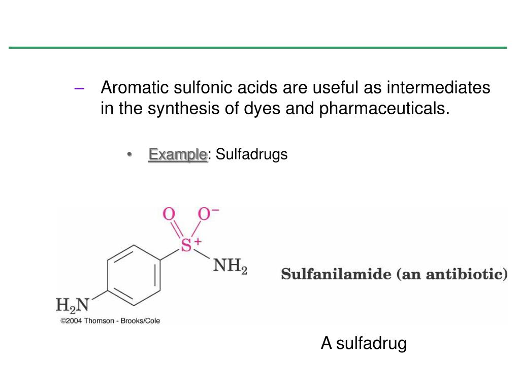 Aromatic sulfonic acids are useful as intermediates in the synthesis of dyes and pharmaceuticals.