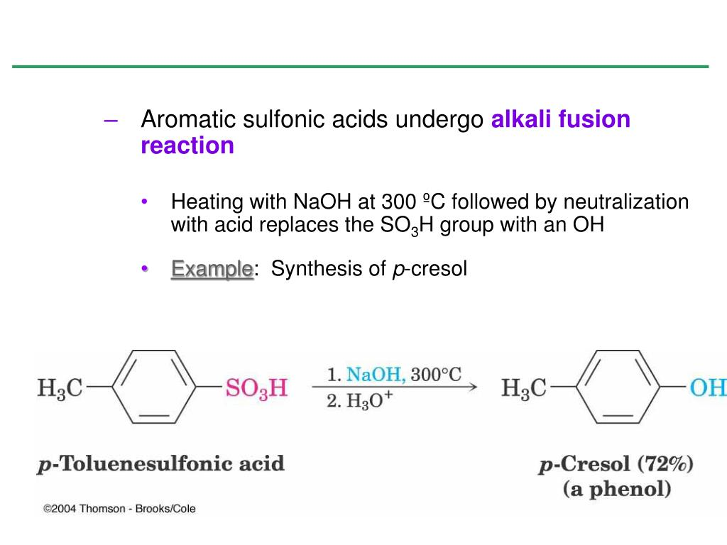 Aromatic sulfonic acids undergo