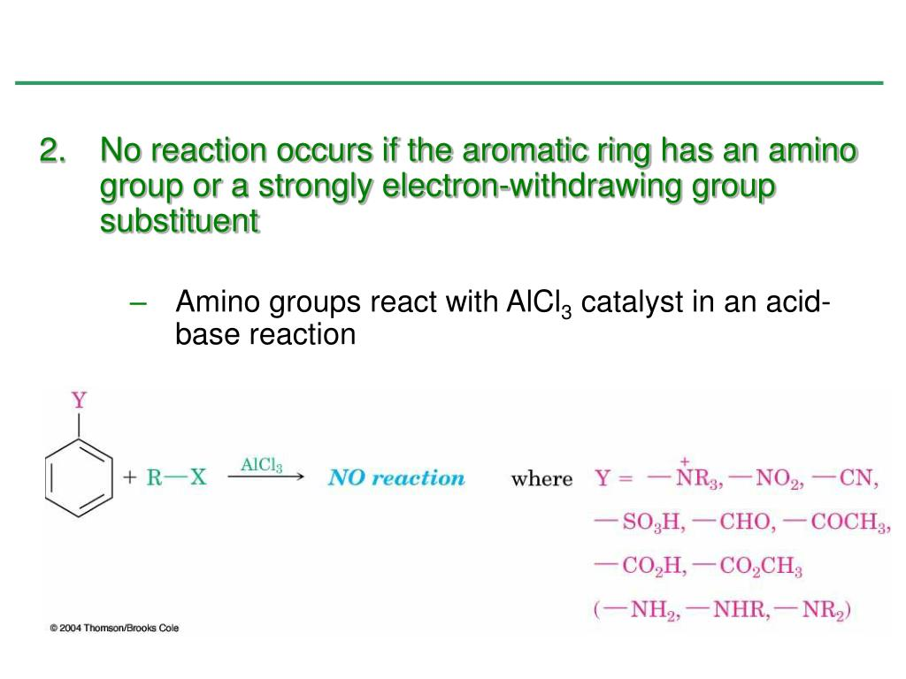 No reaction occurs if the aromatic ring