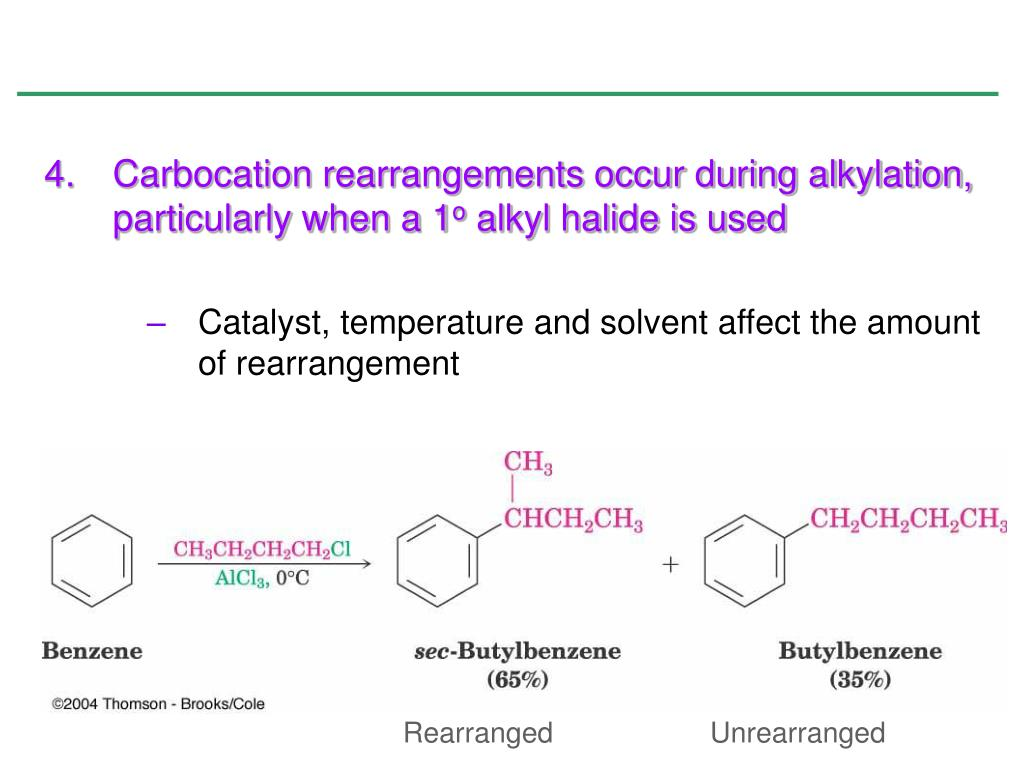 Carbocation rearrangements occur during alkylation, particularly when a 1