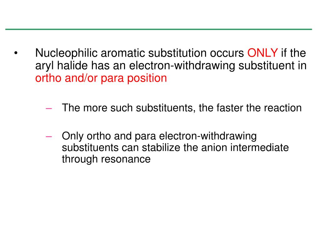 Nucleophilic aromatic substitution occurs