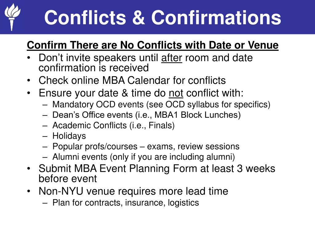 Conflicts & Confirmations