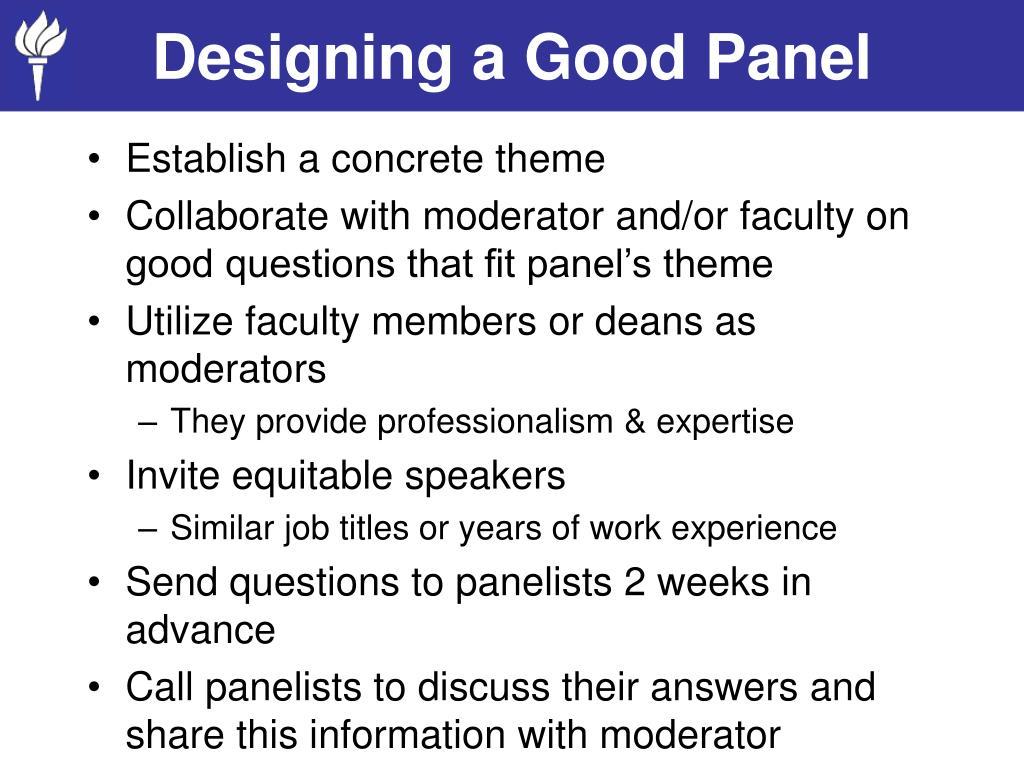 Designing a Good Panel