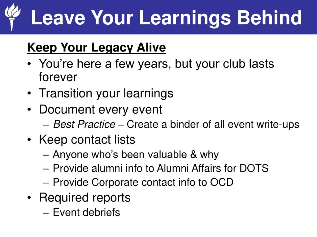 Leave Your Learnings Behind
