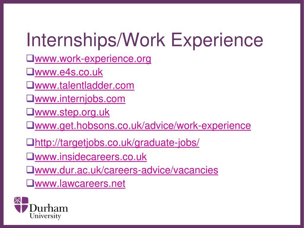 Internships/Work Experience