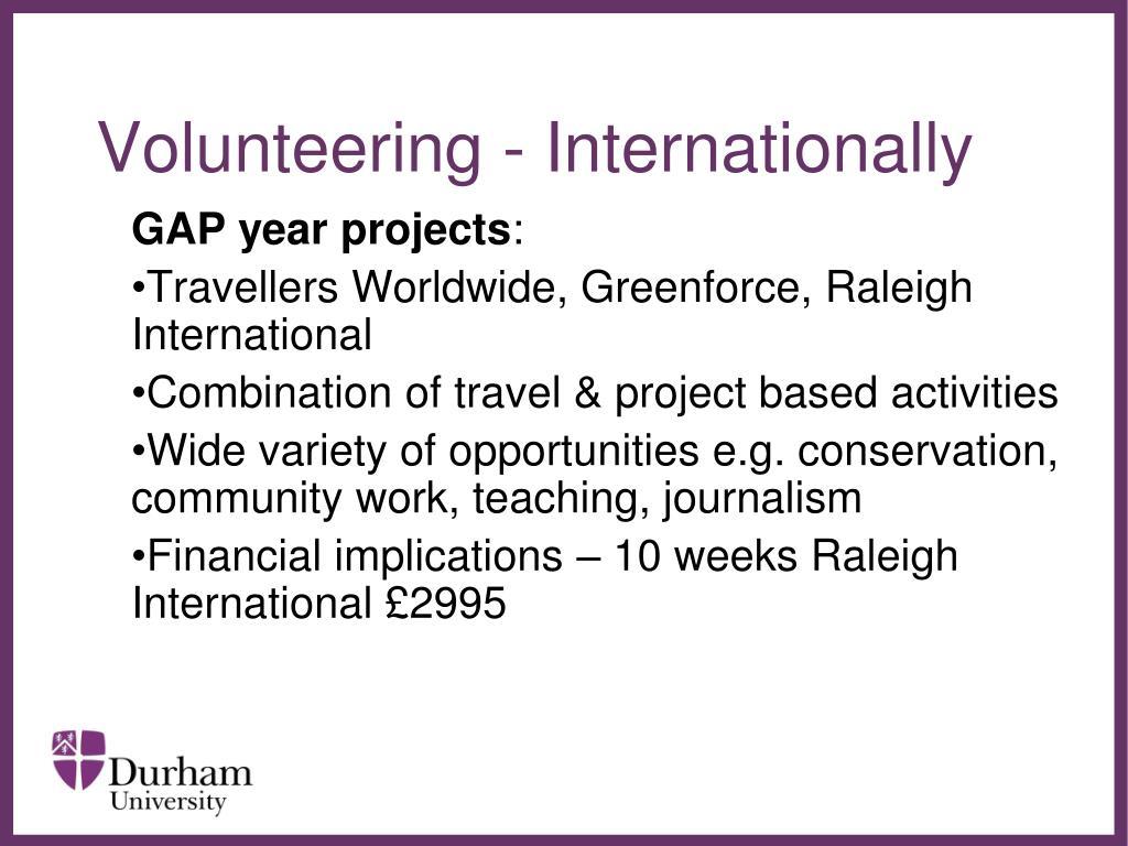 Volunteering - Internationally