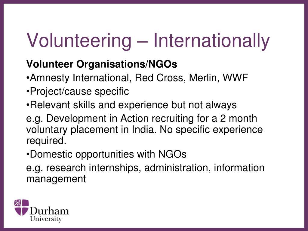 Volunteering – Internationally