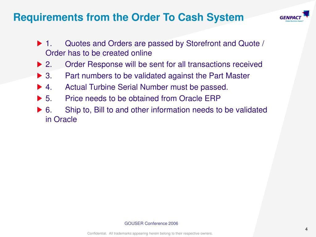 Requirements from the Order To Cash System