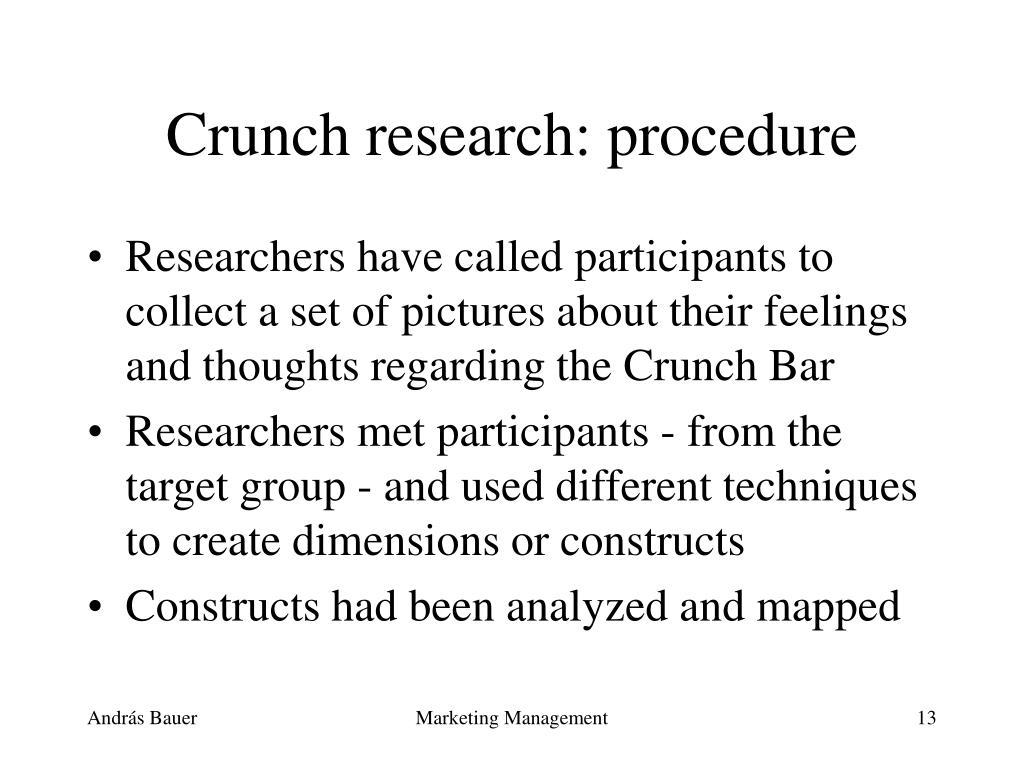 Crunch research: procedure