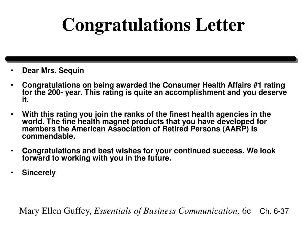 Congratulations Letter