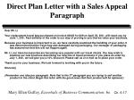 direct plan letter with a sales appeal paragraph