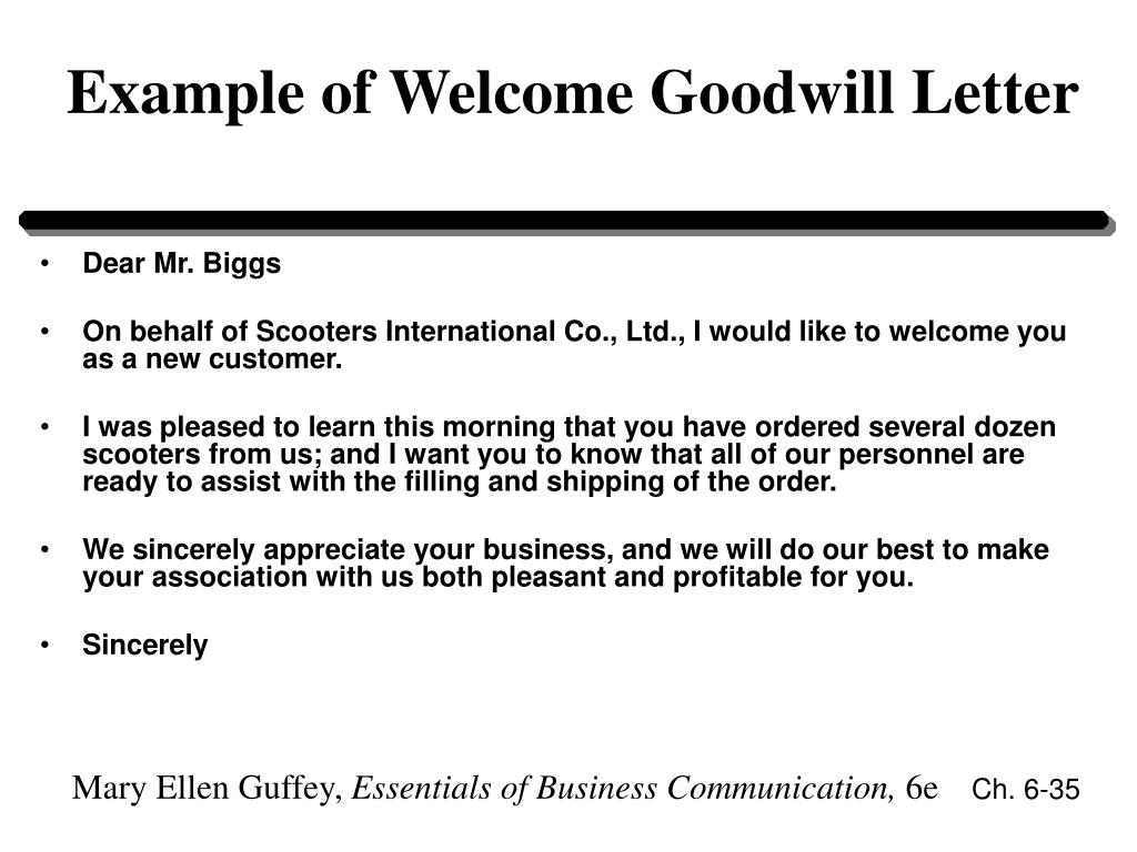 Example of Welcome Goodwill Letter