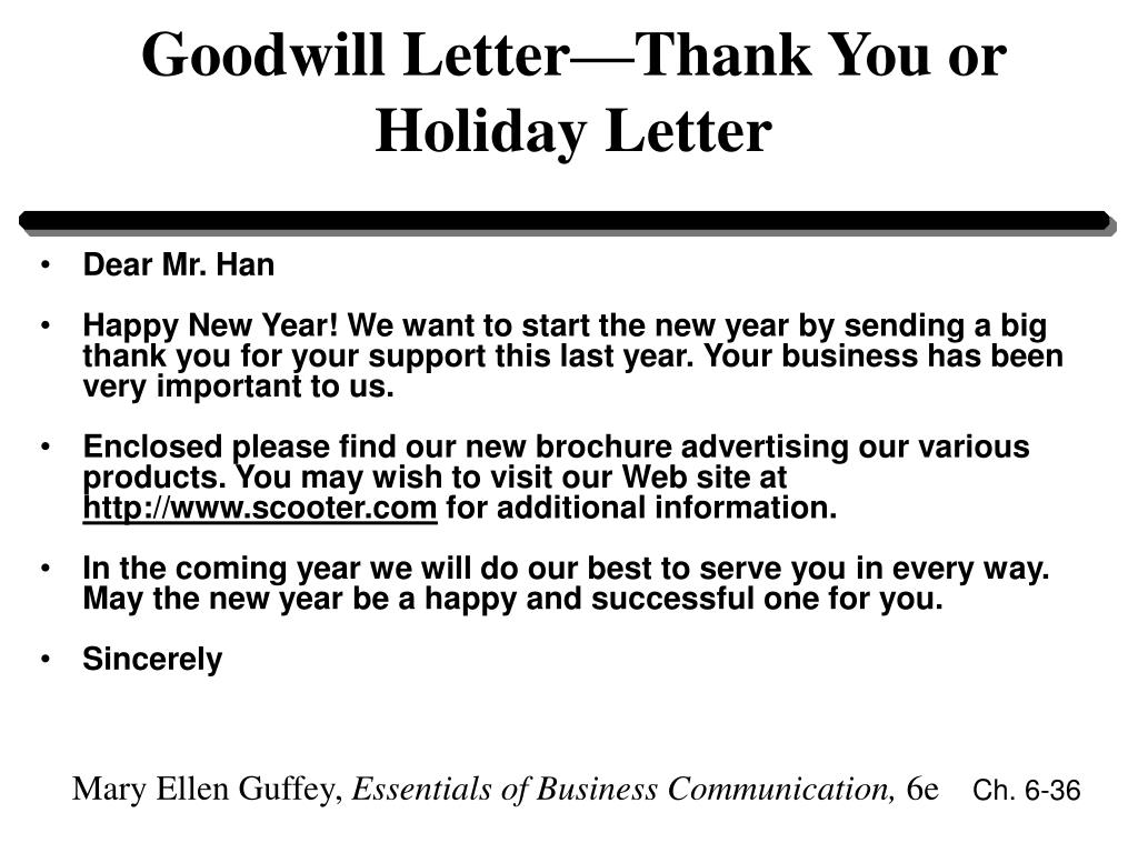 Goodwill Letter—Thank You or Holiday Letter