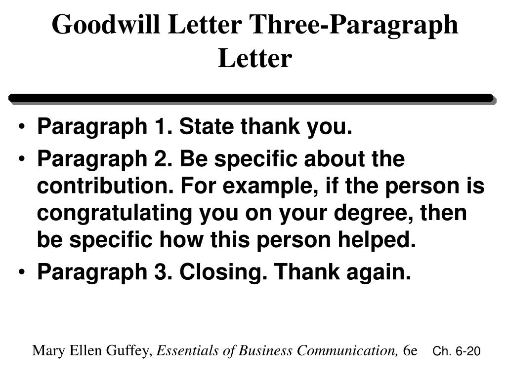 Goodwill Letter Three-Paragraph Letter