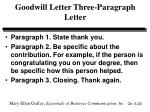 goodwill letter three paragraph letter