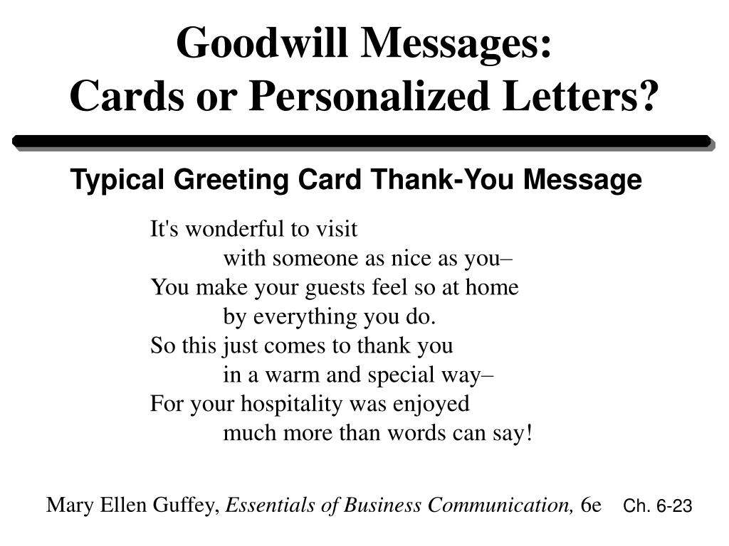 Goodwill Messages: