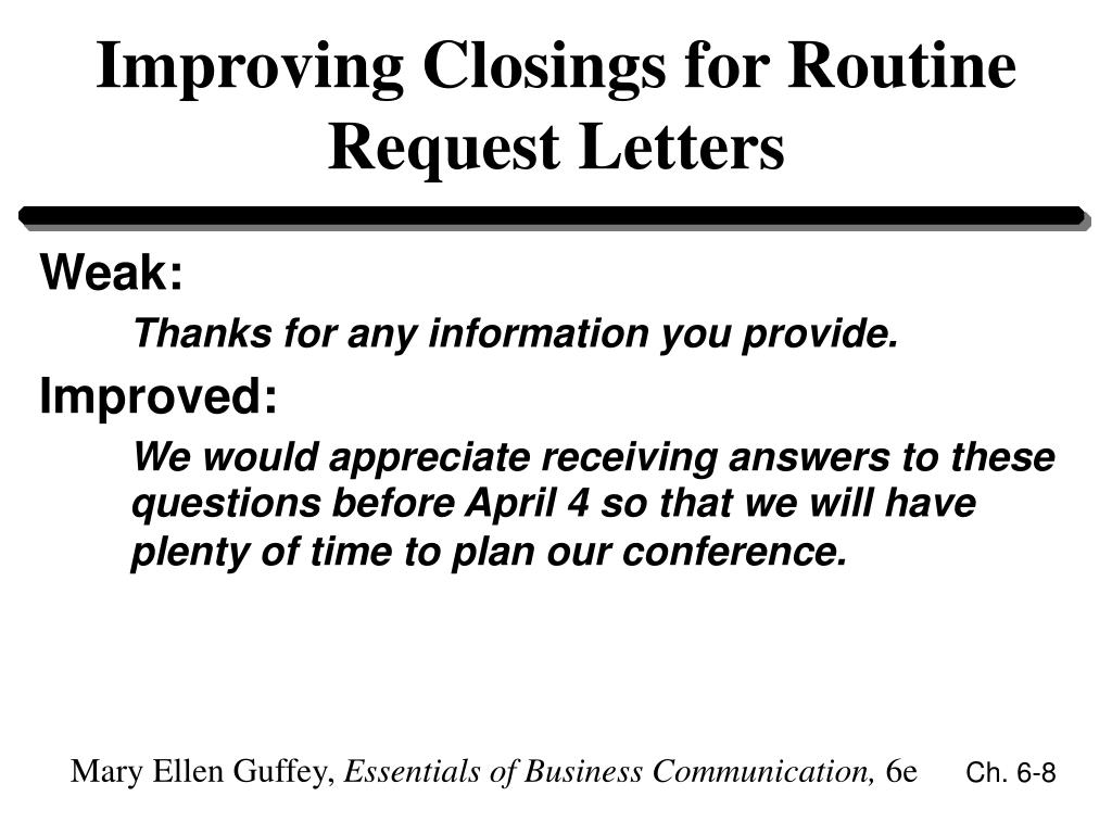 Improving Closings for Routine Request Letters