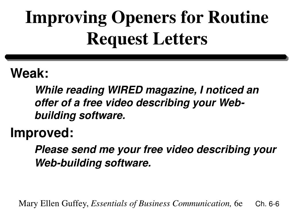 Improving Openers for Routine Request Letters