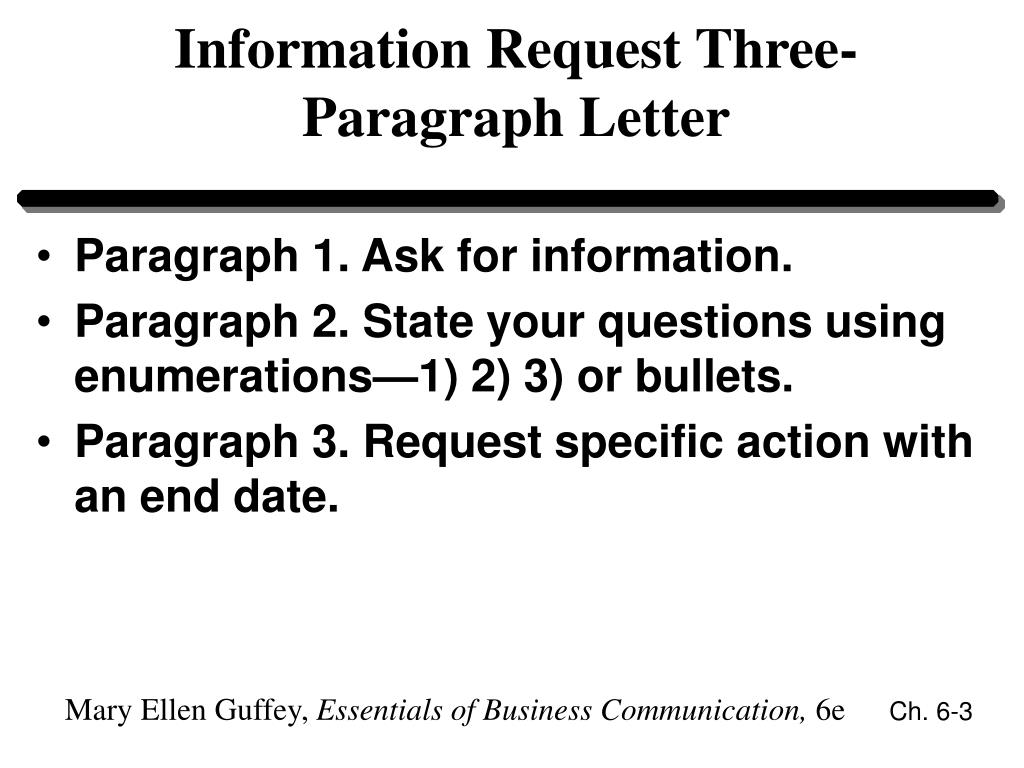 Information Request Three-Paragraph Letter