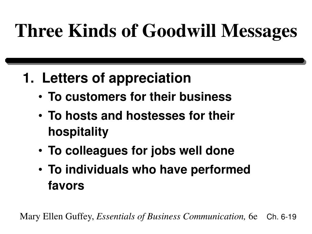 Three Kinds of Goodwill Messages